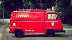 """A 1979 Renault Estafette decked in a Ferrari livery from Ron Howard's """"Rush"""" movie will be auctioned. Vintage Racing, Vintage Cars, Ron Howard Movies, Le Mans, Sport Cars, Race Cars, Car Lettering, Automobile, Van"""