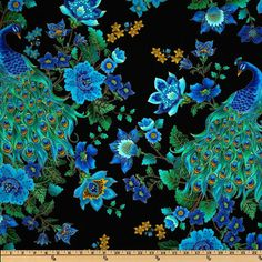 Timeless Treasures Peacock fabric per yard. Turquoise blue on black with gold metallic. Country of Origin Made in the USA Contents 100% cotton Width 44 sold per Yard (36x44)  Brand Timeless Treasures Limited Stock  Collections Plume Peacock GOLD Prrint  Description: From Timeless Treasures this cotton print fabric is perfect for quilts, home décor accents, craft projects and apparel. Fabric features peacocks and flowers. Peacocks are 13 long. Colors include royal, jade, black, navy and…