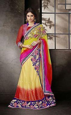 New Lehenga Sari Designer Net Wedding Party Wear Beautiful Embroidery Saree 3517