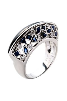 Vintage Jewelry 18K White Gold Onyx, Sapphire & Diamond Mosaic Estate Ring