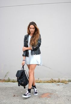 leather jacket + shift dress + sneakers