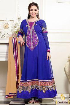 Pavitraa Esha Deol Blue and Camel Long Anarkali Salwar Suit #bridalsalwarsuits #onlinesalwarsuits #designersalwarsuits #bluecolorsalwarsuits