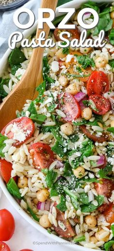 This simple orzo spinach pasta salad is a Mediterranean twist on a classic. Made with feta, tomatoes, and garbanzo beans, tossed in a lemony dressing, it is an easy and healthy summer salad. Serve cold at your next barbecue! Pasta Salad With Spinach, Orzo Salad Recipes, Pesto Pasta Salad, Greek Salad Pasta, Spinach And Feta, Soup And Salad, Recipes With Feta, Lemon Orzo Salad, Broccoli Salad