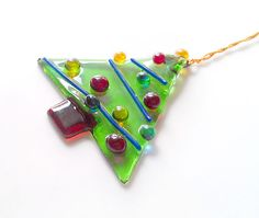 Christmas Tree Ornament   Fused Glass by GlitterbirdGlass on Etsy, #CGGE