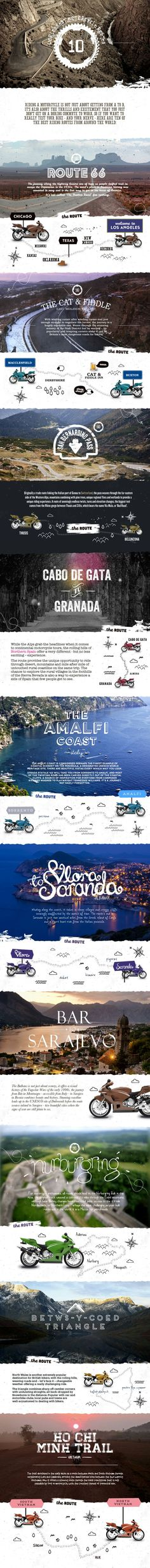 The Worlds Best Motorcycle Routes #infographics