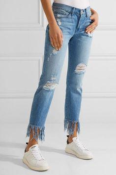 3x1 - Wm3 Crop Fringe Distressed Mid-rise Straight-leg Jeans - Mid denim - 32