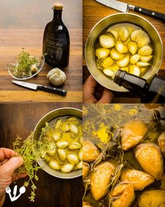 """Roast the cloves of garlic with fresh thyme in premium quality organic olive oil (here I used an over the top expensive and wonderful olive oil at low temperatures - see recipe below) to be blended into a succulent gravy for the Viennese """"Vanilla"""" Steak. Raw Garlic, Wild Garlic, Garlic Oil, Garlic Sauce, Roasted Garlic, Matzo Meal, Jewish Recipes, Fresh Thyme, Fried Potatoes"""