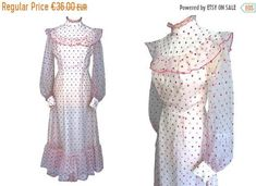 SOLD Prairie style sheer polka dot boho maxi dress from the White Chiffon, Sheer Chiffon, Festival Wedding, Boho Festival, Polka Dot Fabric, Pink Polka Dots, Occasion Maxi Dresses, Fashion Dresses, How To Wear