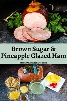 Super easy but so impressive this Brown Sugar and Pineapple Glazed Ham is a beautiful centerpiece for any meal. The glaze is sweet and sticky mingles perfectly with a savory ham.. #holidayham #glazedham via @Baked Broiled and Basted Easter Dinner Recipes, Sunday Recipes, Ham Recipes, Easter Side Dishes, Main Dishes, Claire's Kitchen, Shredded Pork Recipes, Easter Bread Recipe, My Favorite Food
