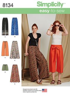 Simplicity Simplicity Pattern 8134 Misses' Easy-to-Sew Pants and Shorts sewing pattern