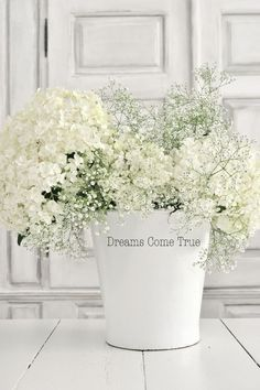 inexatamente. Simple White Flower Arrangement. Great Decorating Idea for Farmhouse, Shabby Chic, French Country, Cottage and Modern Country Decor!