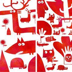 Nicolas Gouny woodland pattern - La forêt Vermillone