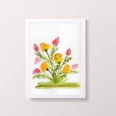 Yellow Carnations Original Watercolor Painting 9x12 | Etsy