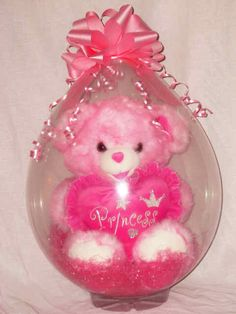 Bear in Balloon Balloon Inside Balloon, Balloon Gift, Balloon Columns, Balloon Crafts, Balloon Ideas, Balloon Decorations, Craft Gifts, Diy Gifts, Valentines Balloons