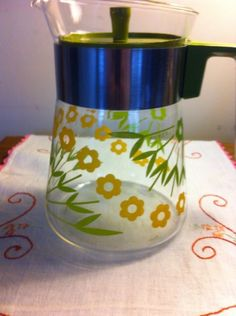 Pyrex Floral 6 Cup Coffee Pot  Vintage Yellow and Green Floral Rare Hard to Find