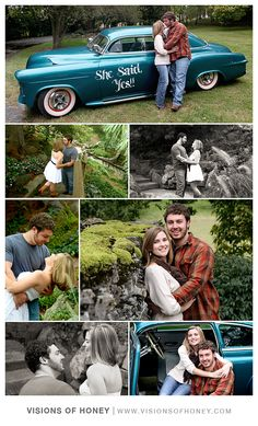 Engagement portrait idea's The couple who loves cars. #engagement #ideas #photoshoot #vintage #country #couple #cars