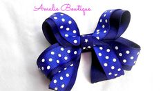 Hair Bow  Two Toned Royal and Dark Blue with by AmalieBowtique, $4.50