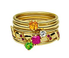 Ana de Costa handcrafted set of Gold stacking rings 2