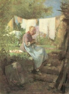 Gallery of the masters fine art listed by country and alphabetically-Old Woman Darning, Nicolae Grigorescu A4 Poster, Poster Prints, Laundry Decor, American Indian Art, Native American, Vintage Artwork, Vintage Paintings, Antique Paint, The Good Old Days