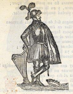 Xilografía en cabecera del primer título de un hombre de pie con armadura y un arpa.