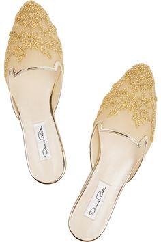 Oscar de la RentaLynda leather-trimmed embellished mesh slippers