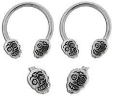 "Pair of Surgical Steel Sugar skull skeleton horseshoe Ring lip, belly, nipple, cartilage, tragus, earring body Jewelry piercing hoop - 14 gauge, 1/2"" (12mm) 14g playful piercings,http://www.amazon.com/dp/B00DU0JD9Q/ref=cm_sw_r_pi_dp_SeICtb0WNTN2WMWS"