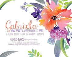Flores en Acuarela Clipart PNG pintadas a mano por LagartixaShop
