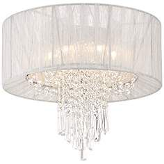 """Hallie 15 3/4"""" Wide Clear Crystal Silver Ceiling Light"""