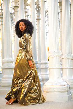 Gold Maxi Dress worn by Folake Huntoon, Style Pantry fashion blogger. #style pantry, #folake huntoon