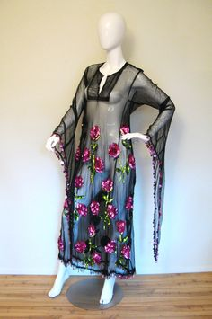 Vintage 1920s Black Net BEADED FLAPPER Dress.
