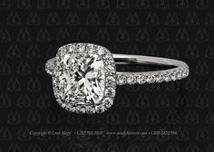 Halo engagement ring cushion cut by Leon Mege
