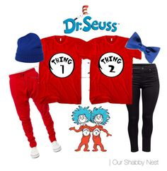 Couples Costumes: Thing 1 & Thing 2 by ourshabbynest on Polyvore featuring H&M, malo, Kite, Justin Bieber, DIY, Halloween, couples and DrSeuss                                                                                                                                                      More