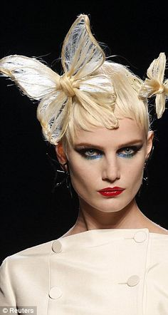 Jean Paul Gaultier's jaw-dropping butterfly hairstyles for Spring 2014 collection