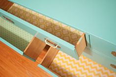 Soak fabric in liquid starch, ring out, and smooth it out to line drawers in fun patterns!