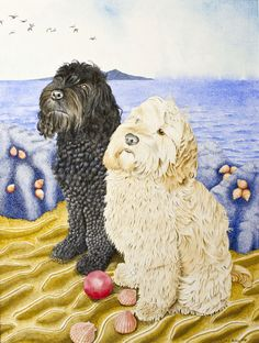 Isla and Belle cockapoo watercolour painting Cockapoo, Enamel Jewelry, Archer, Watercolour Painting, Pet Portraits, Dogs And Puppies, Teddy Bear, Pets, Silver