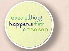 Everything Happens for a Reason Text Cross Stitch by andwabisabi, $3.00