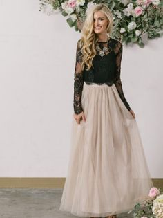 New Style A-line Scoop Neck Tulle Ankle-length Appliques Lace... .. Source: Drooltube . com