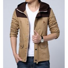 $42.54 Casual Style Hooded Leather Embellished Slimming Color Splicing Long Sleeves Men's Plus Size Jacket