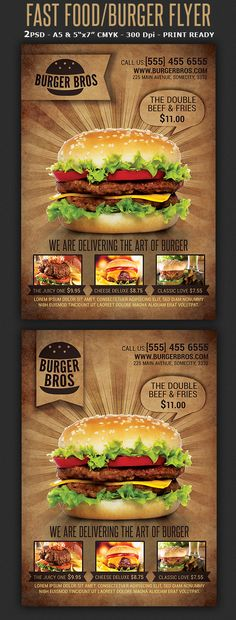 Burger/Fast Food Promotion Flyer Template on Behance Burger Restaurant, Fast Food Restaurant, Restaurant Design, Menu Burger, Burger Bar, Food Promotion, Menu Flyer, Fast Food Menu, Food Menu Design