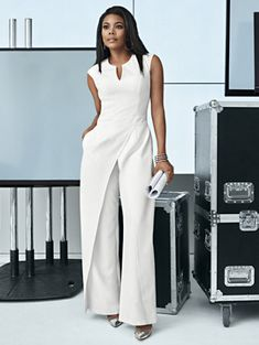 New York CompanyWhite Seamed Jumpsuit Avenue Woman All White Outfits Black Girl Fashion, White Fashion, Look Fashion, Classy Outfits, Stylish Outfits, Wedding Jumpsuit, Mode Outfits, Work Attire, African Dress
