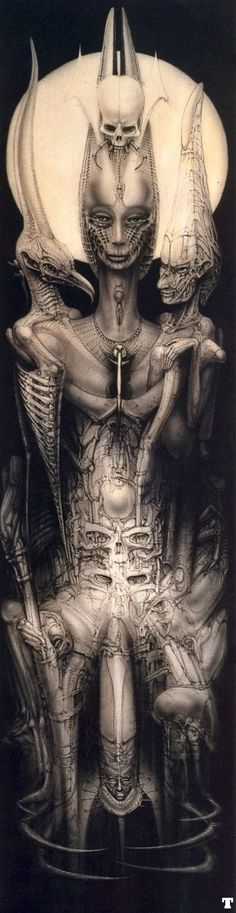 the Man who created Alien. Xenomorph, Dark Fantasy, Fantasy Art, Biomech Tattoo, Science Fiction, Hr Giger Art, Giger Alien, Serpieri, Inspiration Art