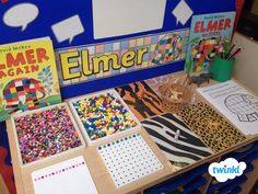 Interactive maths display: pattern using Twinkl's display banner Maths Eyfs, Eyfs Classroom, Eyfs Activities, Nursery Activities, Numeracy, Elmer The Elephants, Maths Display, Math Tables, Early Years Maths