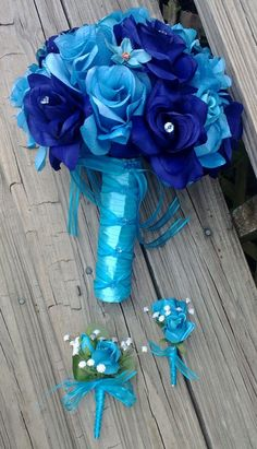 Silk Bridal Bouquet Blue Roses & Turquoise