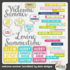 Free Printable Welcome Summer Wordbits from Akizo Designs