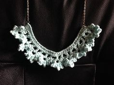Crochet Ruffle Lace Necklace in Ice Blue by LaceryModerne on Etsy