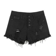 Yoins Black Fringe Ripped Denim Shorts-Black  S/M/L (56 RON) ❤ liked on Polyvore featuring shorts, bottoms, pants, black, distressed high waisted shorts, black jean shorts, destroyed jean shorts, high rise denim shorts and distressed denim shorts
