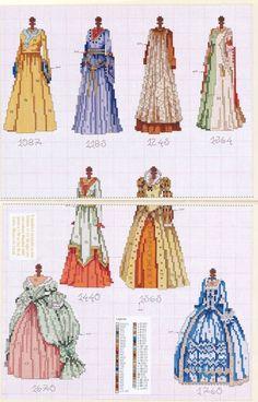 0 point de croix collection antique dresses - cross stitch collection robes anciennes