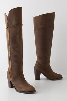 In love with Anthropologie's Lateral Zip Riding Boots... 16 inches, manageable heal and beautiful zipper accent!