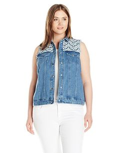 NY Collection Women's Plus-Size Sleeveless Denim Vest with Fringe Armhole *** For more information, visit image link.