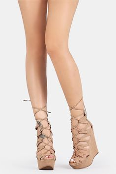 Caged Lace Up Platform Wedges